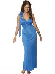 Déguisement robe grecque bleu femme