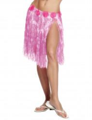 Jupe hawaïenne courte plastique rose adulte