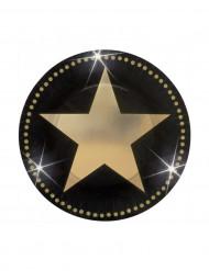 8 Assiettes étoiles dorées