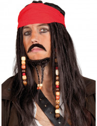 Perruque pirate avec bandana rouge homme