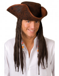 Chapeau tricorne pirate marron adulte