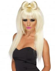 Perruque blonde longue à noeud femme