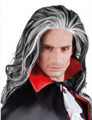 Perruque noire et blanche homme