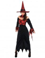 Déguisement sorcière rouge et noire femme Halloween