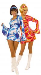 Déguisements de couple disco bleu et rouge femmes