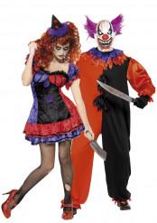 Déguisements de couple clowns terrifiants Halloween