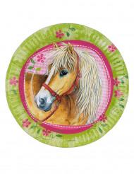 8 Assiettes en carton Chevaux 23 cm