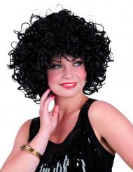 Perruque courte bouclée noire femme