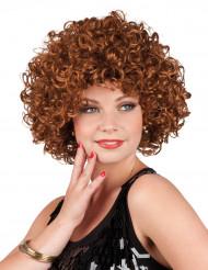 Perruque rétro bouclée marron femme