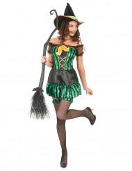 Déguisement sorcière vert et noir femme Halloween