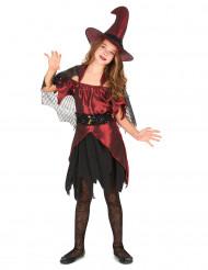 Déguisement sorcière rouge satiné fille Halloween