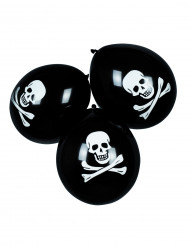 6 Ballons en latex pirate noirs
