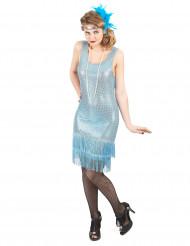 Déguisement charleston bleu clair à paillettes femme