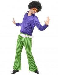 Déguisement disco homme vert et violet