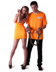Déguisement de couple prisonniers oranges