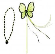 Baguette et collier de princesse vert
