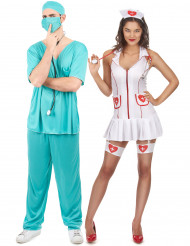 Déguisement de couple infirmière et docteur