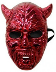Masque diable adulte chromé rouge