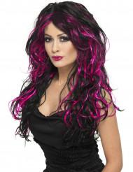 Perruque noire avec mèches roses femme