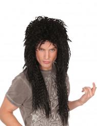 Perruque noire frisée longue punk homme