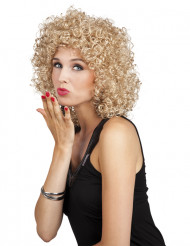 Perruque mi-longue blonde bouclée femme