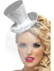 Mini chapeau haut de forme argent femme