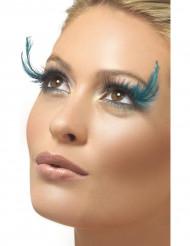 Faux cils noirs avec grandes plumes bleues adulte