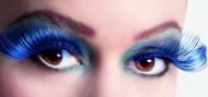Faux cils XL noirs et bleus adulte