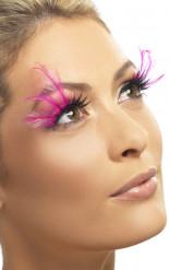 Faux cils noirs avec grandes plumes roses adulte