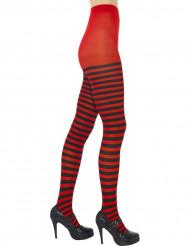 Collants rayés noirs et rouges femme
