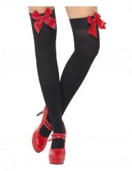 Bas noirs avec noeud rouge femme