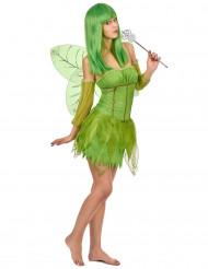 Déguisement fée velours verte femme