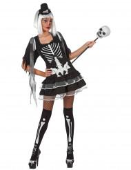 Déguisement squelette vaudou sexy femme