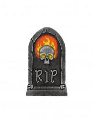 Décoration pierre tombale crâne flamboyant Halloween 56 x 35 cm