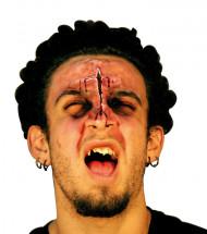 Fausse plaie visage adulte Halloween 9 cm