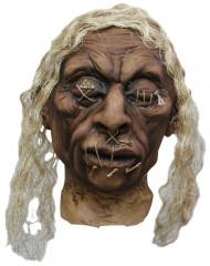 Décoration tête vaudou cheveux blancs adulte Halloween