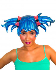 Perruque manga bleu adulte femme