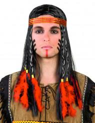 Perruque indien avec plumes rouges homme
