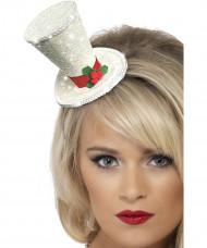 Mini chapeau haut de forme blanc adulte Noël