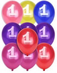 8 Ballons chiffre 1 multicolores 30 cm