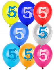 8 Ballons chiffre 5 multicolores 30 cm