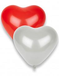 8 Ballons coeurs rouges et blancs 33 x 36 cm
