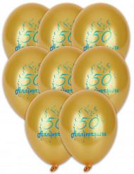 8 Ballons en latex dorés anniversaire 50 ans