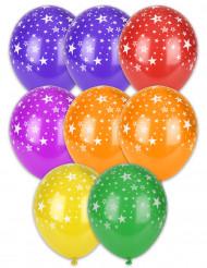 6 Ballons imprimés étoiles multicolores 30 cm