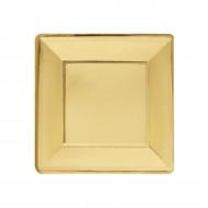 8 Assiettes carrées carton or 19 cm