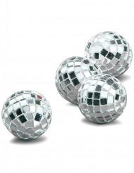 4 Mini boules à facettes argentées 3,5 cm