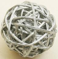 6 boules en osier argentées 3,5 cm