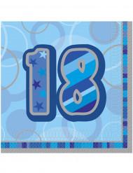 16 Serviettes en papier Age 18 ans bleues 33 x 33 cm