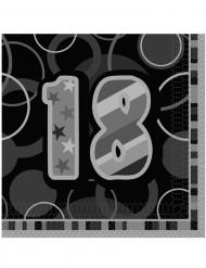 16 Serviettes en papier 18 ans grises 33 x 33 cm