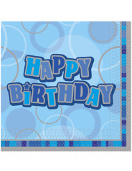 16 Serviettes en papier Happy Birthday bleu 33 x 33 cm
